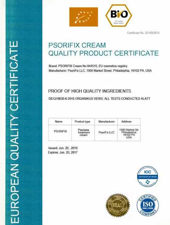 certificate psorifix